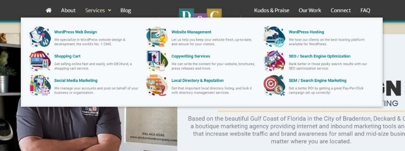 Deckard & Company Navigation on Homepage
